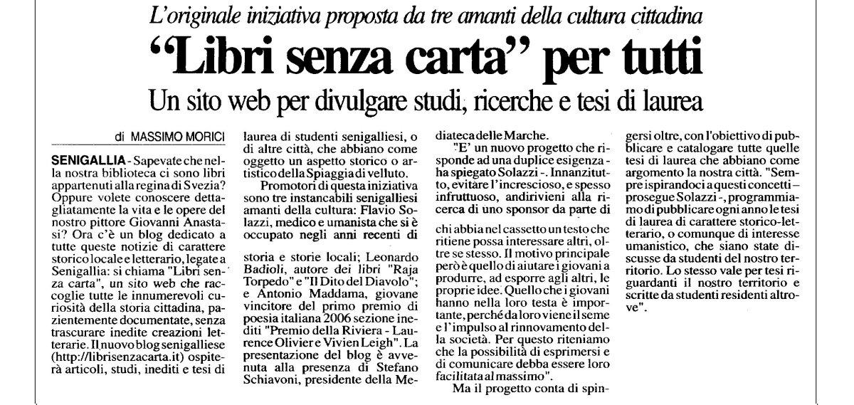 Corriere Adriatico, il 3 luglio 2006, presenta LSC