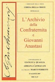Manifesto: l'Archivio della Confraternita e Giovanni Anastasi