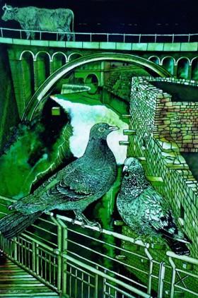 Frequentati ponti di Sentinum - Disegno di Valeriano Trubbiani