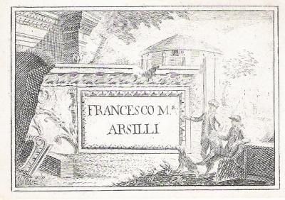 Biglietto da visita originale di Francesco Maria Arsilli