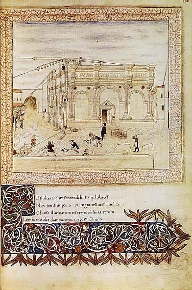 <i><b>La costruzione del Tempio Malatestiano (miniatura da codice)</b></i>